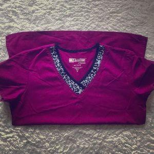 Grey's Anatomy Pink Leopard Print Scrub Top Size M